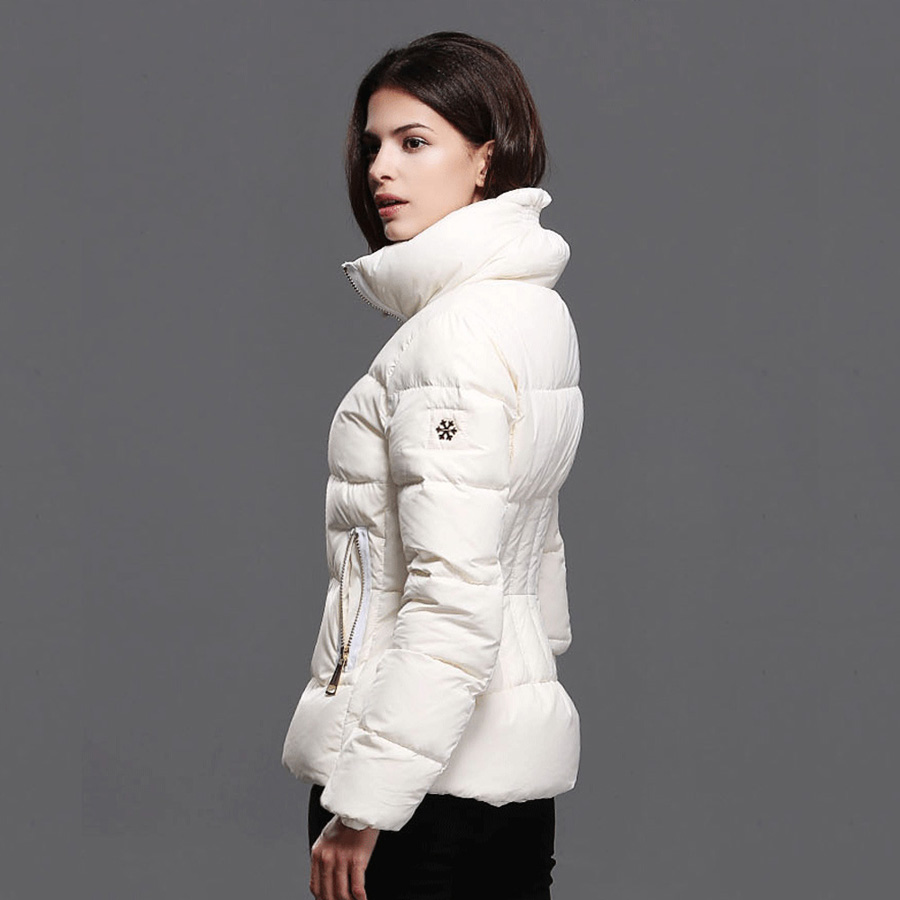 ФОТО 2016 Winter Women's Fashion Short Paragraph Long-sleeve Stand-collar White Down Cotton Parkas