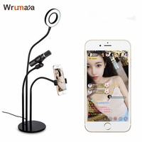 Wrumava Selfie Light Cell Phone Stand with Microphone Holder for Live for iPhone And all smart phones
