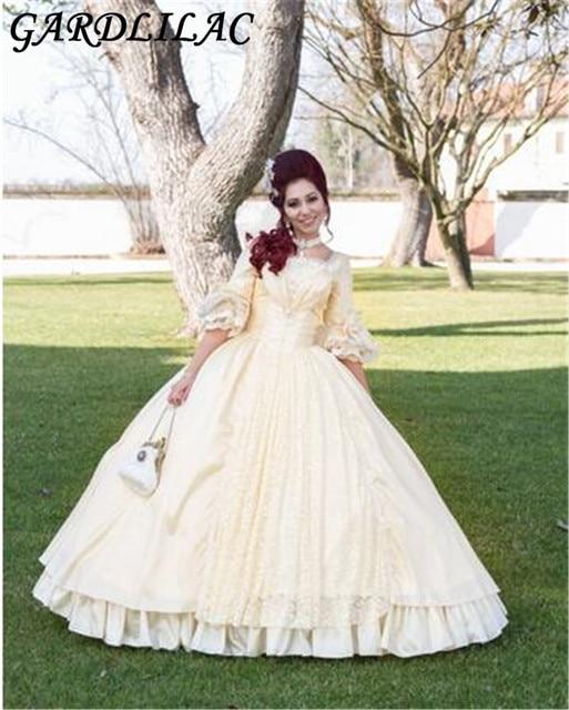 20b880ee626 Gardlilac Lace Scoop Half Sleeve Champagne Ball Gown quinceanera dress  Vestido 15 anos 2017 Halloween Dress