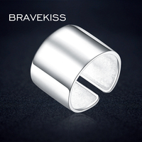 BEAVEKISS Big Classic Wide Adjustable 925 Sterling Silver Ring Finger Open Unisex Women Sample Ring Bijoux