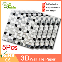 1PC/5PCS 3D Wall Sticker Mosaic Brick Self-Adhesive paper for Kitchen Home DIY Stickers Decal Waterproof