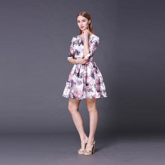b416580f4a6 Платье принцессы Лето 2016 Великобритании Street Половина рукава Жаккард  красивые принтом Topshop длиной выше колена милые
