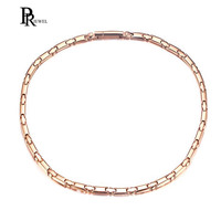 6mm Width Bio Energy Titanium Choker Necklace for Women Magnetic Power Jewelry Rose Gold Color 20