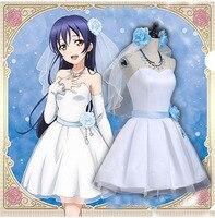 מלאי חדש! אהבה בשידור חי שושבינה להתעורר Sonoda Umi לבן כחול לוליטה שמלת cosplay תלבושות ליל כל הקדושים תלבושות לנשים