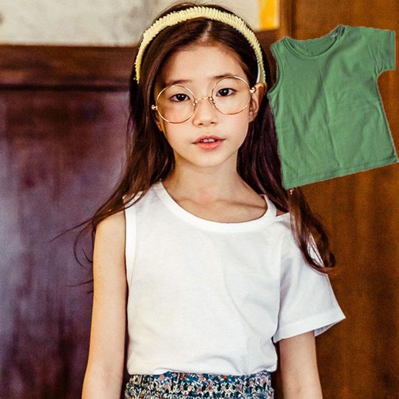 toddler girls tops teenage summer spring 2018 o neck cotton t shirt girls teen white green tshirt girl tees children clothing