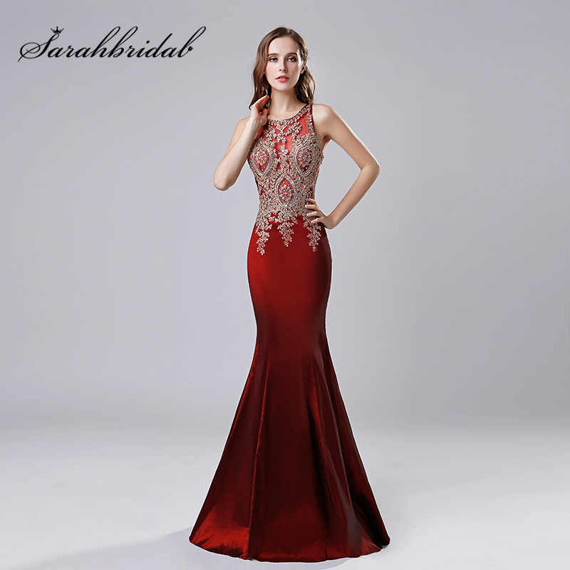 bcd3d490aef 100% Real Picture Burgundy Taffeta Evening Dresses 2018 Gold Lace Appliques  Long Mermaid Party Gown