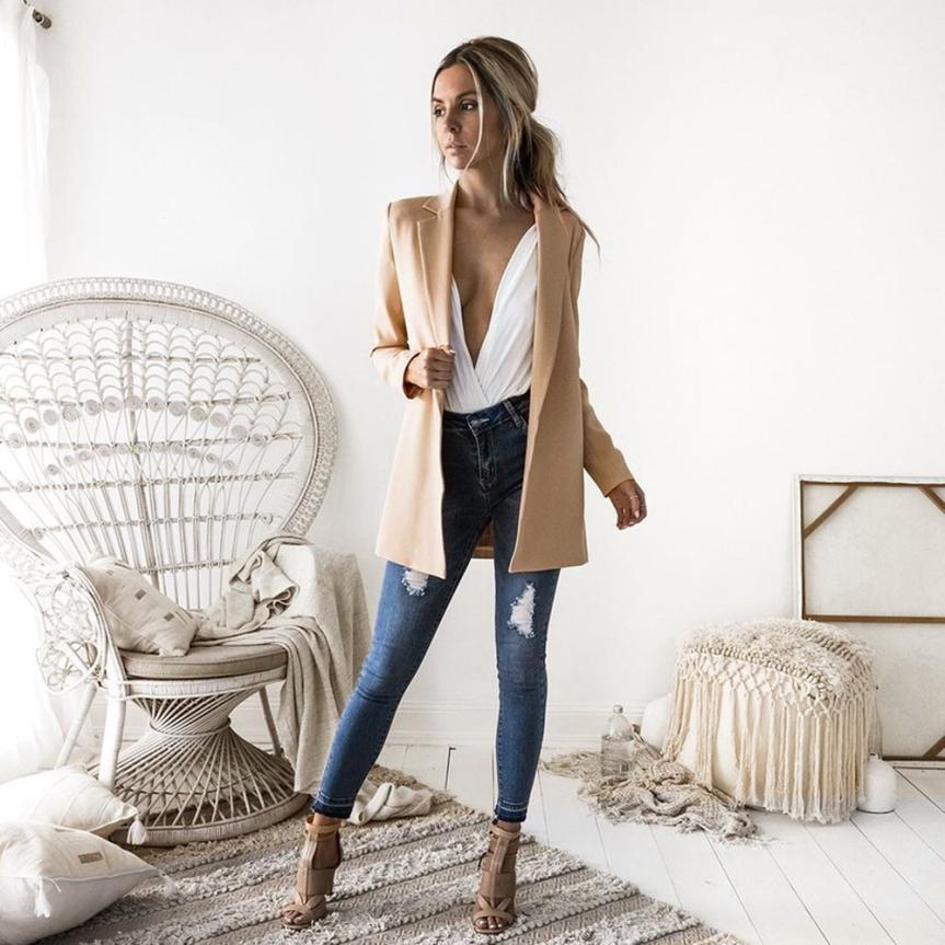 KANCOOLD coats Blazers Ladies Long Sleeve Cardigan Casual Blazer Suit Outwear Twill coats and jackets women 2018Oct4
