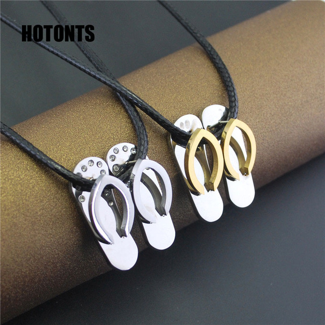 Stn116 2pcslot stainless steel slipper pendant necklace for men stn116 2pcslot stainless steel slipper pendant necklace for men women shiny rhinestones couple necklace mozeypictures Images