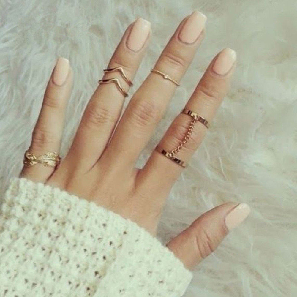 MALORY Store 2017 New Hot 6pcs/lot Shiny Punk Style Gold Silver Stacking Band Midi Finger Knuckle Rings Charm Leaf Ring Set for Women Jewelry