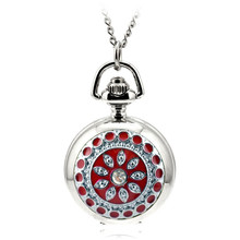 Colorful Pocket Watch Rhinestone Love Women's Watch Pocket Watch Quartz Movement Clock Necklace Fob Watch Pendant Sweater Chain