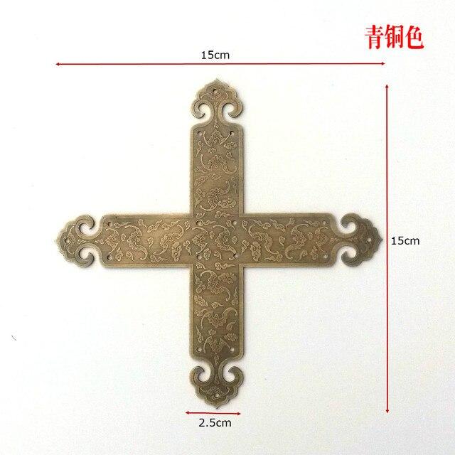 Chinese antique furniture copper door wrap angle T type door horn spline copper clad corner protecting hardware accessories horn