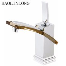 Brass Basin Faucet Bathroom Vanity Vessel Sinks Deck Mount Mixer Tap Single Hole Waterfall Faucet free shipping tall type high quality faucet waterfall spout tap single handle bathroom vanity sink mixer tap deck mount zr624
