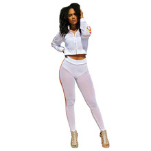 MUXU white sexy transparent cropped 2 piece set women two top and pants long sleeve suits