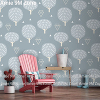 Tuya Art Pale Blue Tree Pattern Mural Wallpaper For Living Room And Bedding Room Wall Decor