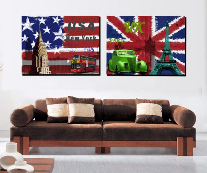 2 Pieces Wall Painting Canvas Painting Wall Art Home Decoration
