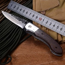 WTT Handmade Forged Pattern Steel Folding Pocket Knife Camping EDC Tools Damascus Tactical Survival Knives Hunting EDC Knife