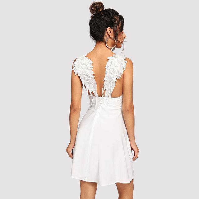 Contrast Wings V Neck Mini Dress