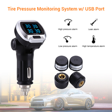 цена на 12V Wireless Car LCD TPMS Tire Pressure Monitoring System With USB Port 4 Sensor Cigarette Lighter