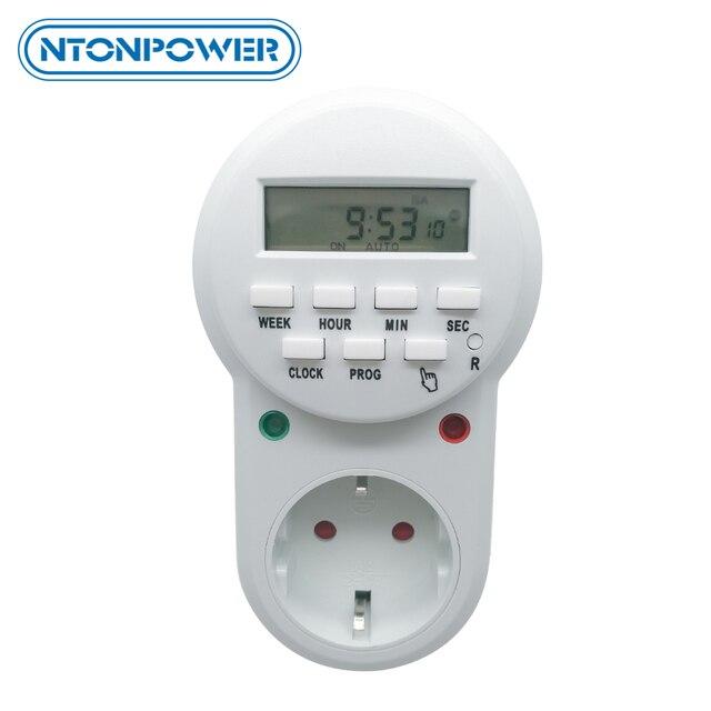 مقبس توقيت NTONPOWER مقبس طاقة ذكي بمقبس أوروبي قابل للبرمجة مفتاح مؤقت رقمي إلكتروني موفر للطاقة 220 فولت 16A