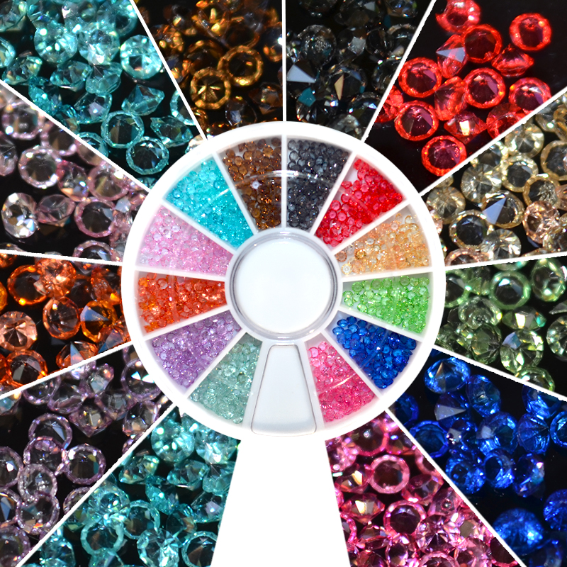 Hot Selling 1 Wheel 1.5mm Zircon Nail Rhinestones Nail Art Micro Rhinestones Mini Nail Rhinestones Manicure Decorations