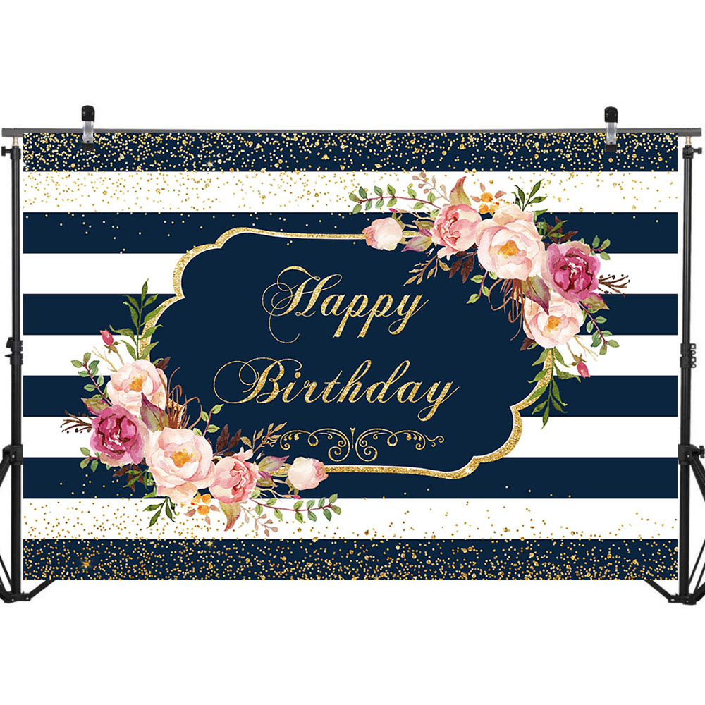 Happy Birthday Party Backdrop Black White Stripe Birthday Photography Background Custom Name Birthday Banner Decorate Backdrops in Background from Consumer Electronics