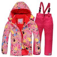 2019 Kids Ski Suit Children Windproof Waterproof Colorful Sport Suits for Girls Boy Snowboard Jacket Pants Winter Clothes Sets