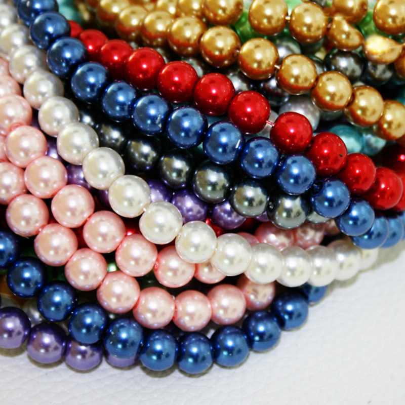 Wholesale Round Ball Loose Glass Pearl Spacer Bead 8mm White Black Green Red Indigo Mixed For Jewelry Making Craft DIY