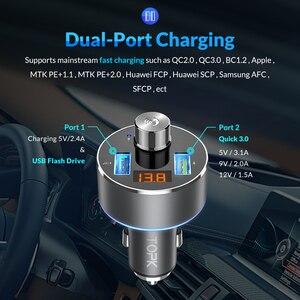 Image 4 - TOPK 車の充電器ワイヤレス Bluetooth FM トランスオーディオ MP3 プレーヤー QC3.0 急速充電デュアル USB 自動車電話の充電器