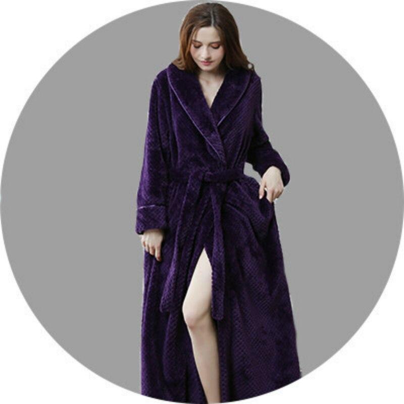New Winter Robe Woman Sexy Loose Homewear Pajama Nightgowns Sleepwear Coral velvet long Robe female Bathrobe Thick Robes in Robes from Underwear Sleepwears