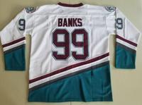Ediwallen The Mighty Movie 99 Adam Banks Anaheim Ducks Ice Hockey Jerseys 1993 Vintage Green White Sport Free Shipping