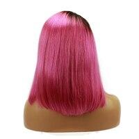Розовый Ombre человеческих волос Full Lace парики короткие боб с боковой части парики для Для женщин волосы младенца вокруг 1B розовый темные корни