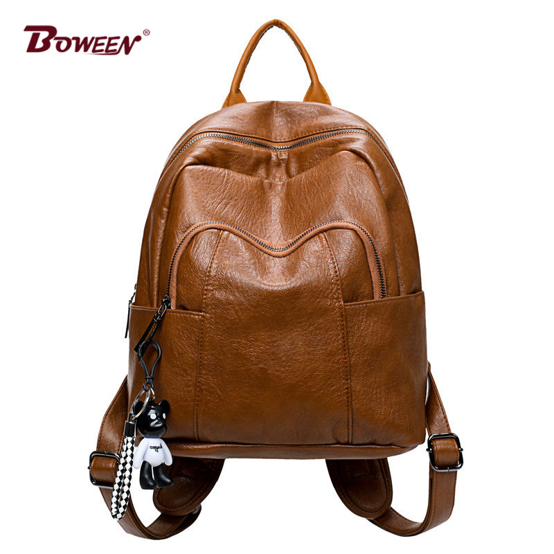 Official Website Solid Soft Pu Leather Women Backpack For Girls Fashion Bear Pendant Bagpack Mochila Woman Back Pack Brown 2019 School Bags