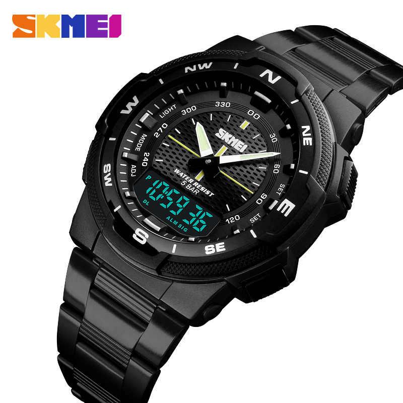 Reloj Cuarzo Marca Skmei Pantalla Lujo Acero Digital Relojes Top Dual Hombres Deporte Negocios De Inoxidable Del 5bar Impermeable Y6bf7gy