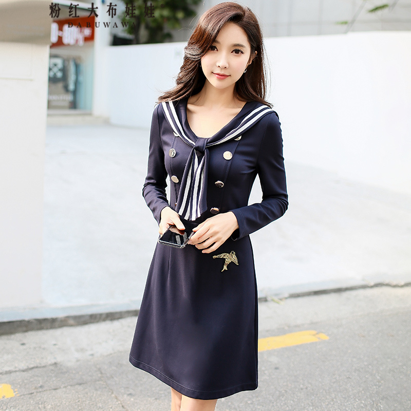 original 2018 brand spring military style fashion embroidery animal slim long sleeve waist hit color short dress women wholesale