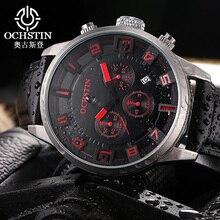 Reloj de lujo Para Hombre Reloj Cronógrafo Automático de Acero Inoxidable Fecha Banda de Cuero de Los Hombres A Prueba de agua Relojes Deportivos Militar de Cuarzo