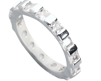 Radient White Stone 3*3mm Semi-precious Stone Silver Cool For Women Ring Q1552 image