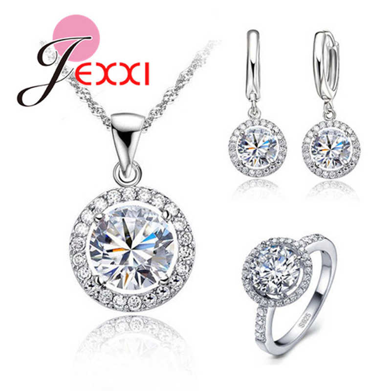 Indah Wanita Pernikahan Kalung Anting-Anting Cincin Set Perhiasan 925 Sterling Silver Zircon Crystal Perhiasan Set