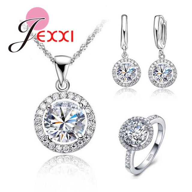 JEXXI Exquisite Women Wedding Necklace Earring Ring Jewelry Set S90 Silver Zirco