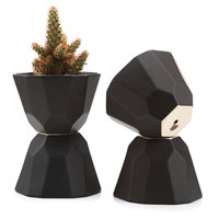 5 Inch Ceramic Geometric Semi Luster Surface succulent Cactus Plant Pot Flower Pot Container Planter Matte Black 1 Pack of 4