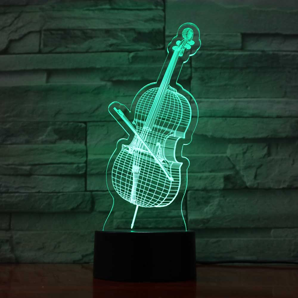3D Led Cello Modelling Night Lights 7 Colorful Musical Instruments Desk Lamp Usb Bedroom Sleep Lighting Fixtures Decor Toy Gifts