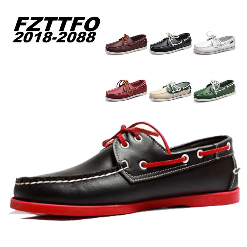 Genuine leather men loafers Top quality comfortable handsome men flats Plus Size 36-47 b ...