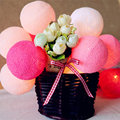 20Balls/set Pink Gray Red Tone Wedding cotton ball String Fairy lights Party home Patio Wedding Romantic decor String