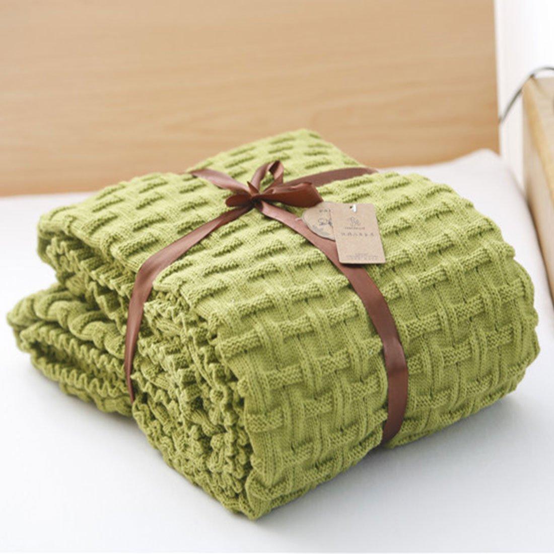 Tricot jeter couverture Crochet chandail Texture TV couverture vert jette pour chambre canapé canapé, 47x70 pouces