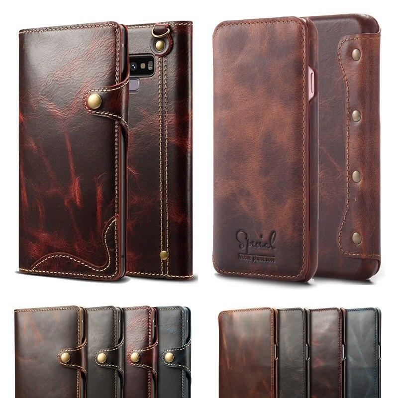 Роскошный чехол из натуральной кожи в деловом стиле для samsung Galaxy S8 S9 S10 Plus, чехол-книжка с бумажником для samsung Note 9 8