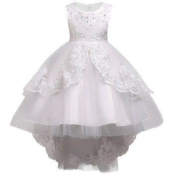 Girls Clothes Pearl Embroidery White Wedding Dress Children Christmas clothing Kids Party Dress baby Girls Princess dress 1