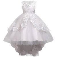 רקמה לבנה שמלות כלה פנינת בגדי בנות ילדי שמלת נסיכת בנות תינוק שמלת מסיבת חג מולד בגדים ילדים