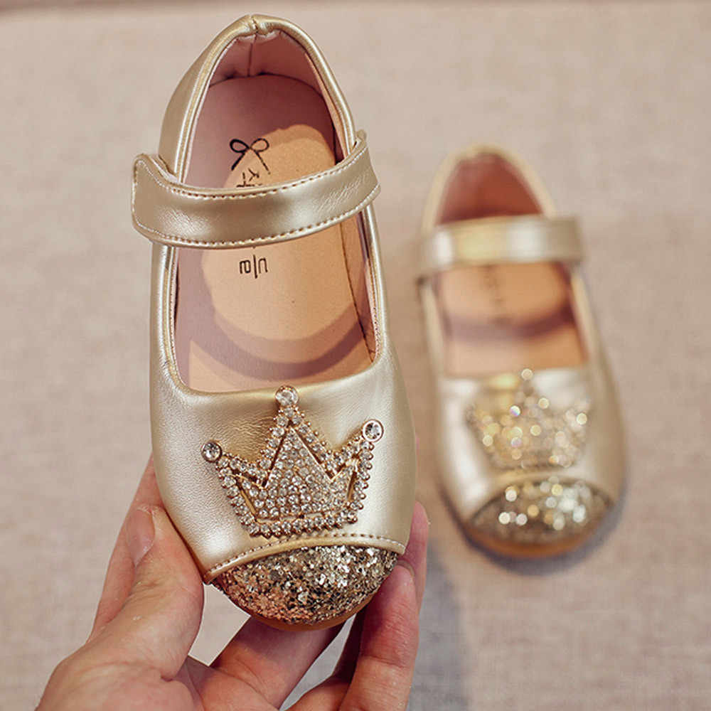 2019 รองเท้าแฟชั่นเด็กวัยหัดเดินเด็กหญิงเด็กเจ้าหญิง Bling Crown รองเท้าแตะฤดูใบไม้ผลิรองเท้าเดี่ยว Bordered คริสตัลรองเท้าเด็ก
