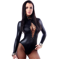 Sexy Black Long Sleeve Bodysuit Women Black Leather Jumpsuits Erotic Latex Catsuit Cat women Costume