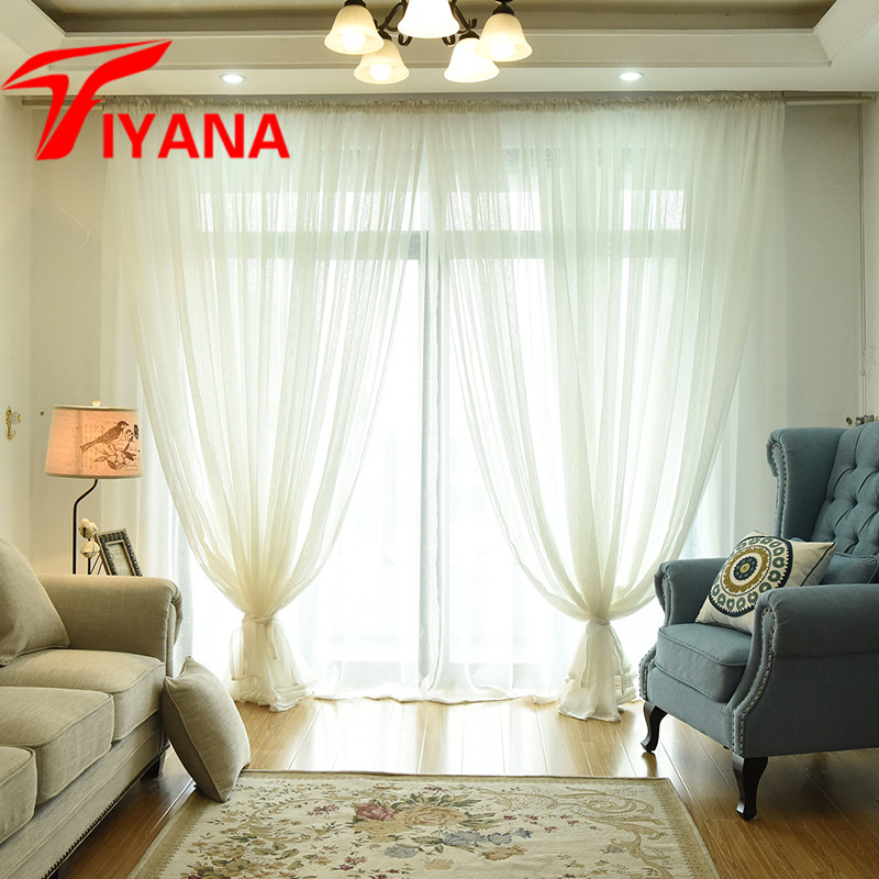 Tiyana Moderne Einfarbig Tüll Sheer Vorhänge Für Schlafzimmer Tür Leinen  Fenster Screening Balkon Mode Weiß Voile