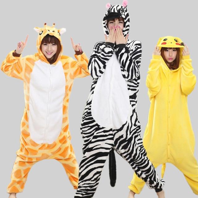 Spring Autumn Cartoon Animal Pajamas for Unisex Adult Lovely Couple Sleepwear Pikachu Totoro Nightwear Cosplay Onesie Costume